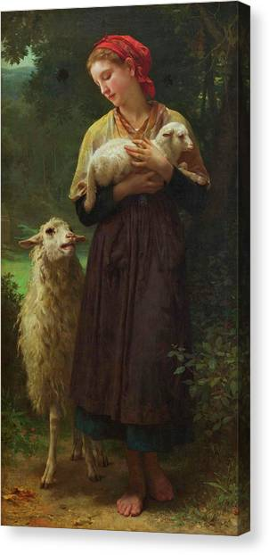 Academic Art Canvas Print - The Shepherdess by Adolphe William Bouguereau