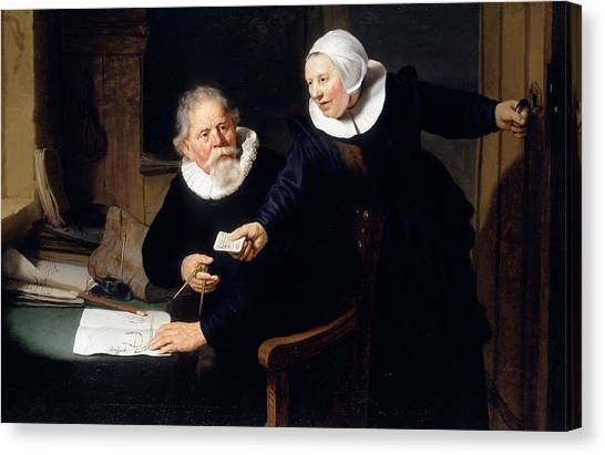 Rembrandt Canvas Print - The Shipbuilder And His Wife by Rembrandt