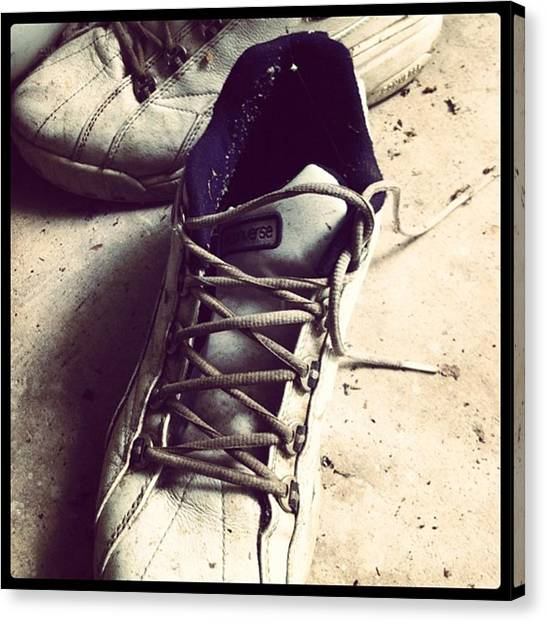 Sports Canvas Print - The Shoes He Left Behind by Dana Coplin