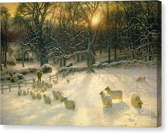 Snow Canvas Print - The Shortening Winters Day Is Near A Close by Joseph Farquharson