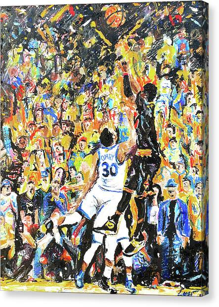Kyrie Irving Canvas Print - The Shot by Patrick Geyser
