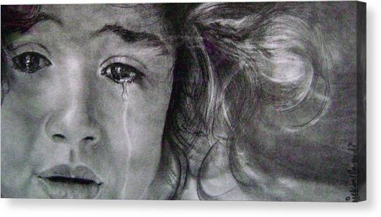 The Shy Cry Girl Canvas Print