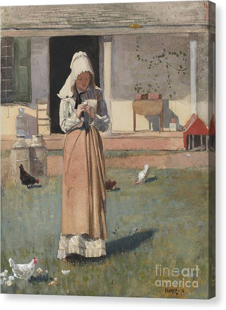Chicken Farms Canvas Print - The Sick Chicken, 1874  by Winslow Homer