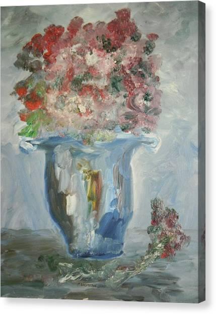 The Silver Swirl Vase Canvas Print by Edward Wolverton