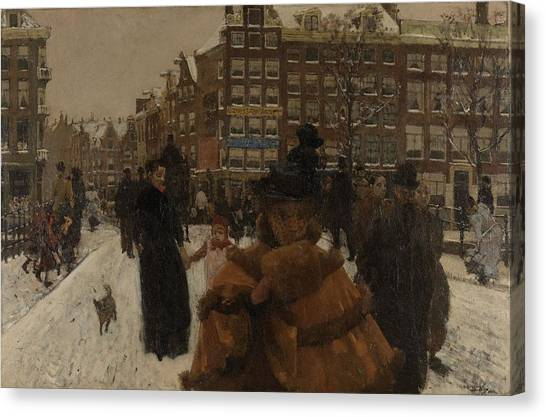The Singel Bridge At The Paleisstraat In Amsterdam, 1896 Canvas Print