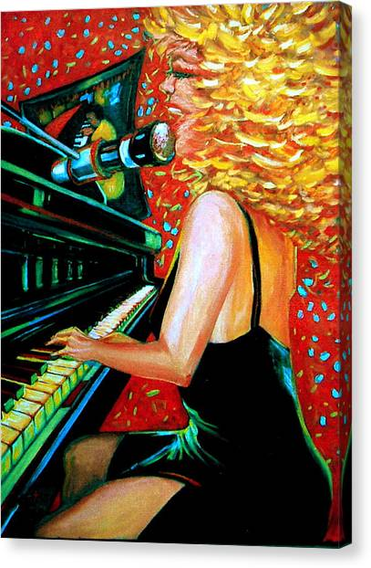 Canvas Print featuring the painting The Singer At Shuckers by Jeanette Jarmon