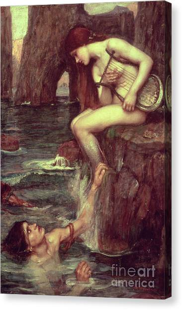 Mermaids Canvas Print - The Siren by John William Waterhouse