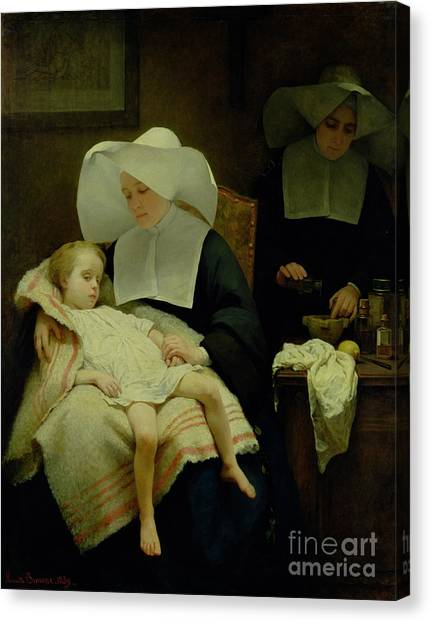 Nuns Canvas Print - The Sisters Of Mercy by Henriette Browne