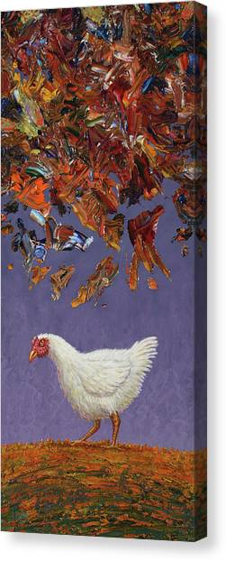 Chickens Canvas Print - The Sky Is Falling by James W Johnson