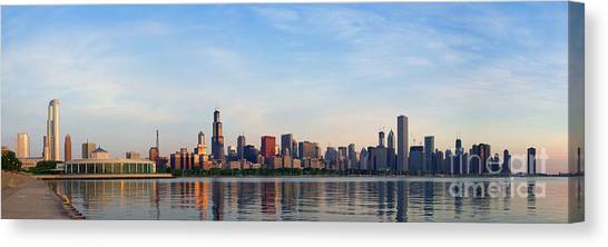 The Skyline Of Chicago At Sunrise Canvas Print