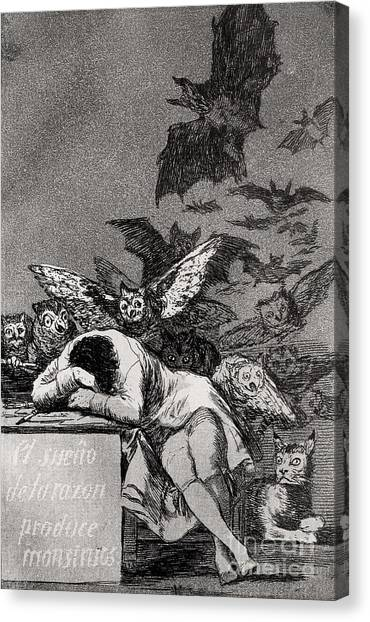 Bat Canvas Print - The Sleep Of Reason Produces Monsters by Goya