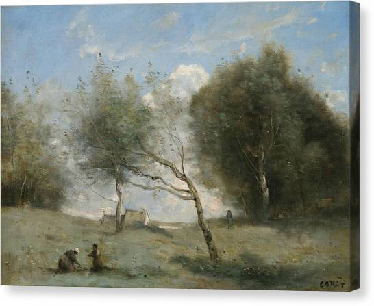 Camille Canvas Print - The Small Farm Meadows by Jean-Baptiste-Camille Corot