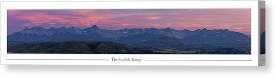 Teakettles Canvas Print - The Sneffels Range With Peak Labels by Aaron Spong