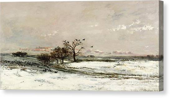 Rural Landscapes Canvas Print - The Snow by Charles Francois Daubigny