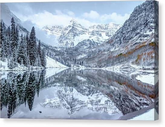 Art In America Canvas Print - The Snowy Bells - Maroon Bells Aspen Colorado by Gregory Ballos