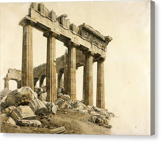 The Parthenon Canvas Print - The South-east Corner Of The Parthenon. Athens by Giovanni Battista Lusieri