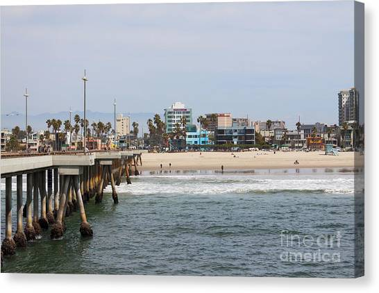 Venice Beach Canvas Print - The South View Venice Beach Pier by Ana V Ramirez