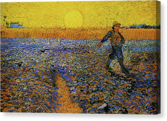 Canvas Print featuring the painting The Sower by Van Gogh