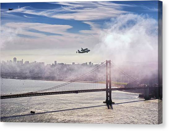 Space Ships Canvas Print - The Space Shuttle Endeavour Over Golden Gate Bridge 2012 by David Yu