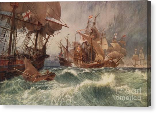Drake Canvas Print - The Spanish Armada by English School