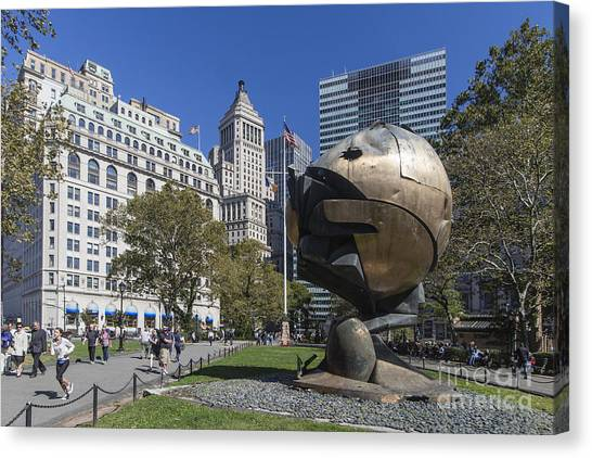Canvas Print featuring the photograph The Sphere Batterie Park Nyc by Juergen Held