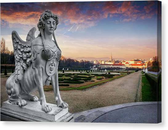 Rococo Art Canvas Print - The Sphinx Of The Belvedere Vienna  by Carol Japp