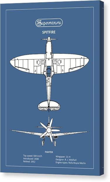 Airplane blueprint canvas prints page 4 of 19 fine art america airplane blueprint canvas print the spitfire by mark rogan malvernweather Images