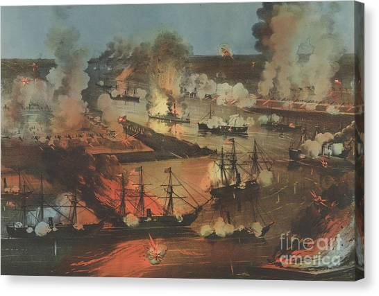 Currier And Ives Canvas Print - The Splendid Naval Triumph On The Mississippi, April 24th, 1862  by Currier and Ives