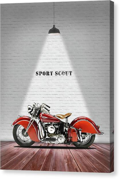 Scouting Canvas Print - The Sport Scout Motorcycle by Mark Rogan