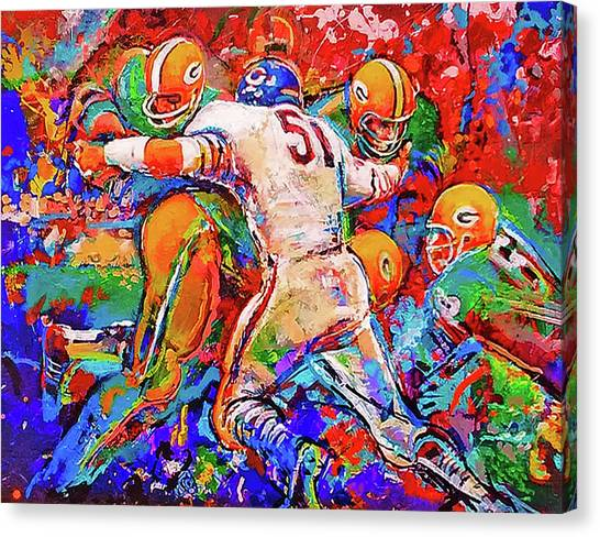 Dick Butkus Canvas Print - Dick Butkus V. Green Bay Packers by Rob Wood - The Sports Artist