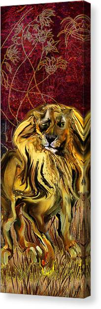 The Squinting Lion Canvas Print by Anne Weirich