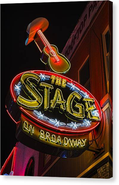 Nashville Predators Canvas Print - The Stage On Broadway by Stephen Stookey
