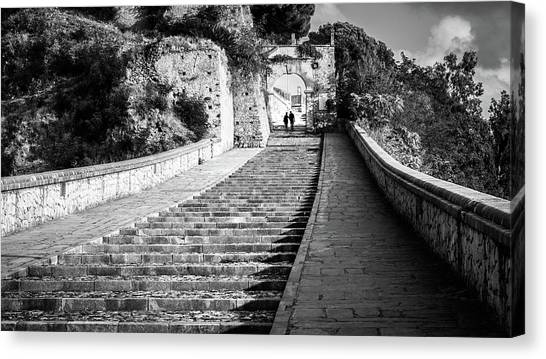 Geotagged canvas print the stairs paola italy black and white street photography