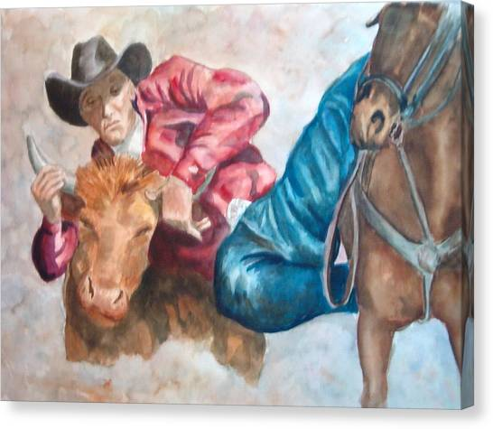 The Steer Wrestler Canvas Print