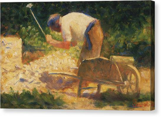 Post-impressionism Canvas Print - The Stone Breaker by Georges-Pierre Seurat