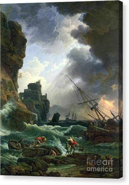 Rowboats Canvas Print - The Storm by Claude Joseph Vernet
