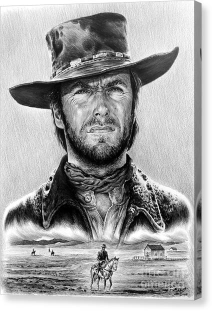 Cowboys Canvas Print - The Stranger Bw 1 Version by Andrew Read