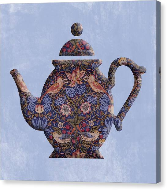 The Strawberry Thief Pattern Teapot Canvas Print