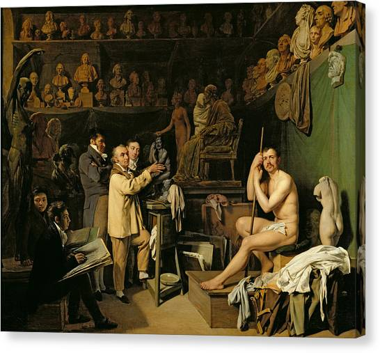 Sculptors Canvas Print - The Studio Of Jean Antoine Houdon by Louis Leopold Boilly