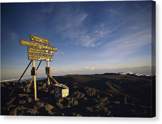 Mount Kilimanjaro Canvas Print - The Summit Of Mt. Kilimanjaro, Africas by Bobby Model