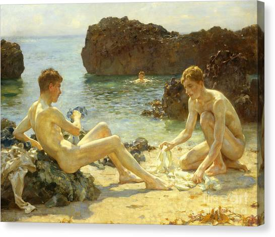 Nudes Canvas Print - The Sun Bathers by Henry Scott Tuke