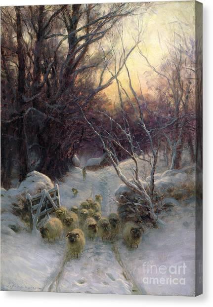 Ewe Canvas Print - The Sun Had Closed The Winter Day by Joseph Farquharson