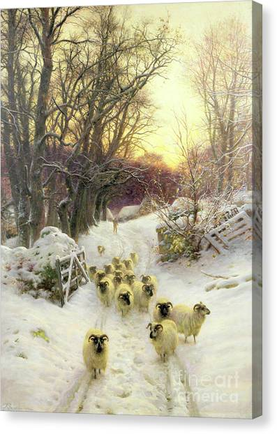 Snow Canvas Print - The Sun Had Closed The Winter's Day  by Joseph Farquharson