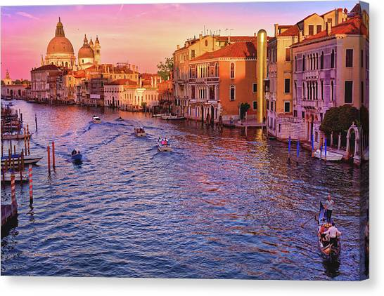 The Sun Is Setting In Venice Canvas Print