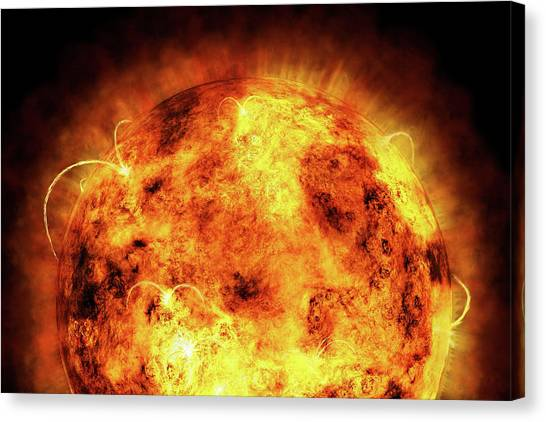 Fire Canvas Print - The Sun by Michael Tompsett
