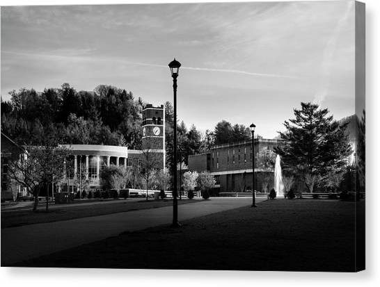 The Sun Rises On Western Carolina University In Black And White Canvas Print