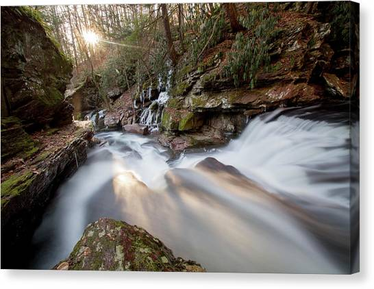 The Sun Sets On Van Campens Glen Canvas Print