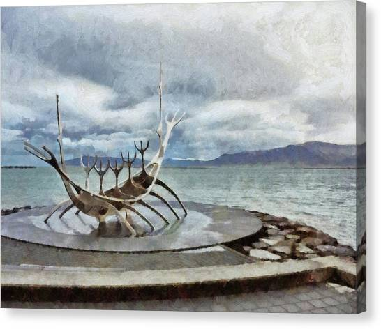 Canvas Print featuring the digital art The Sun Voyager by Digital Photographic Arts