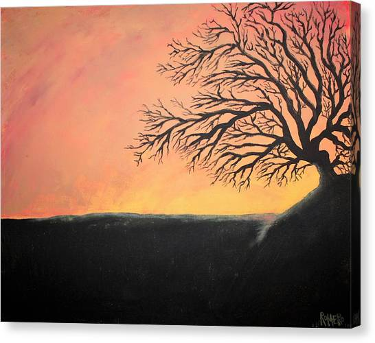Canvas Print featuring the painting The Sun Was Set by Antonio Romero