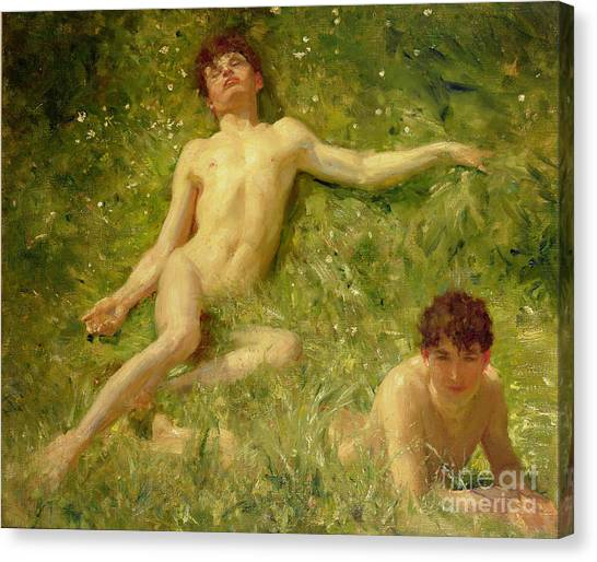 Laying Canvas Print - The Sunbathers by Henry Scott Tuke